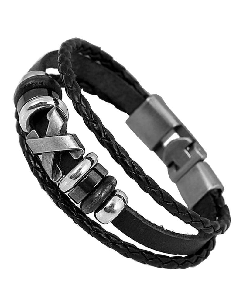 Men's Fashion X-Design Bracelet - Black