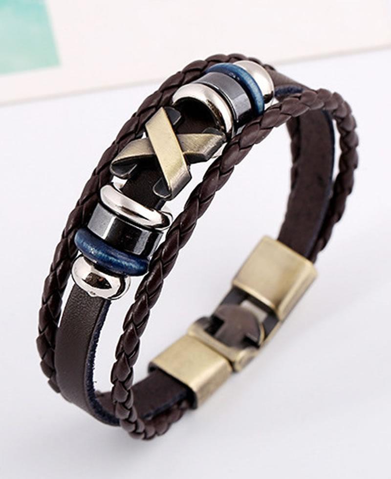 Men's Fashion X-Design Bracelet - Dark Brown