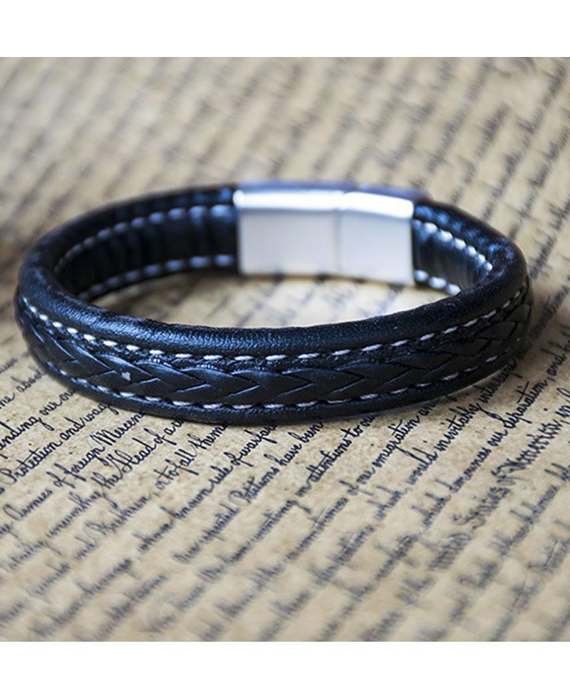 Men's Fashion Thick Leather Retro Bracelet - Brown