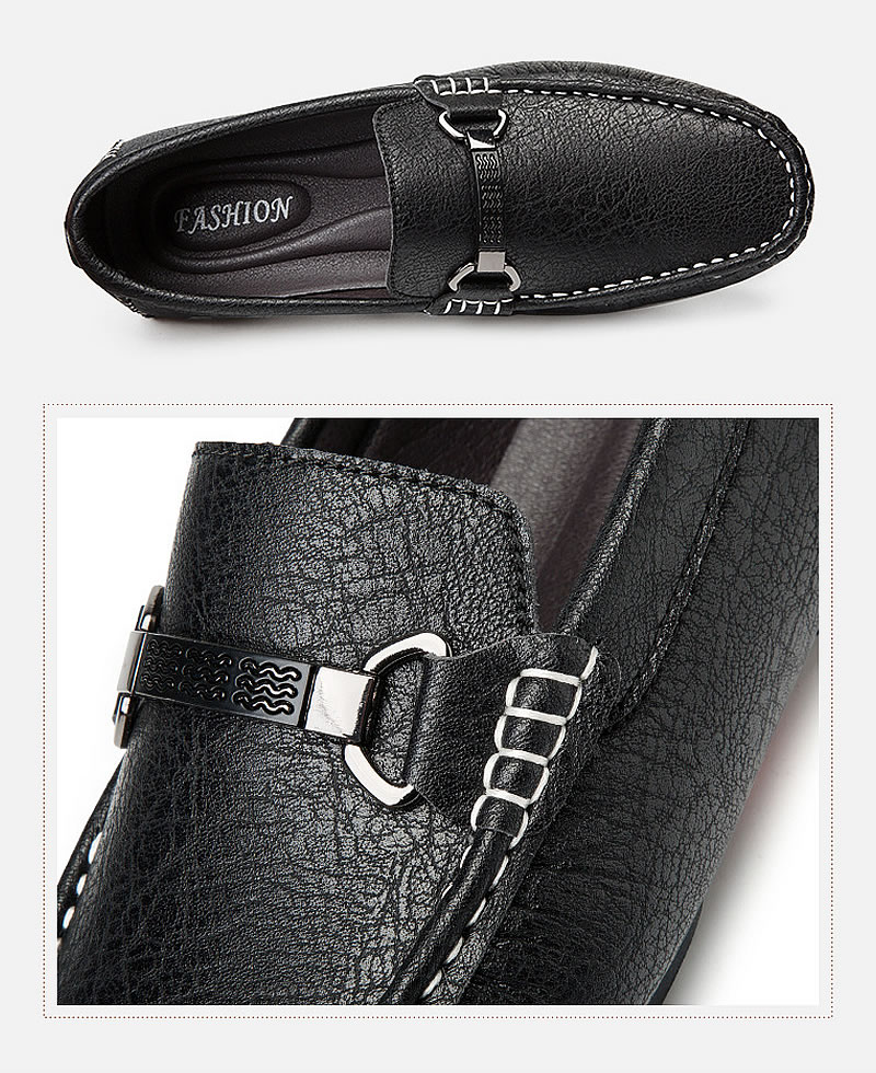 Men's Quality Fashion Leather Casual Loafers Slip-On Shoes - Black