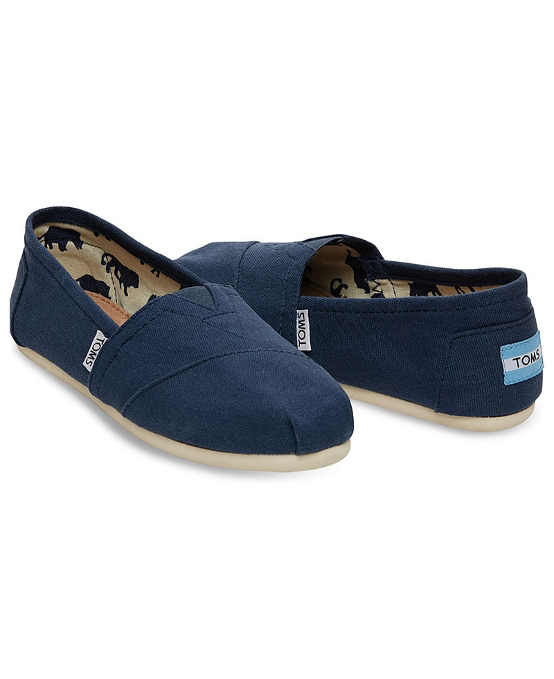 TOMS Mens Classic Canvas Casual Slip-On Shoes - Navy