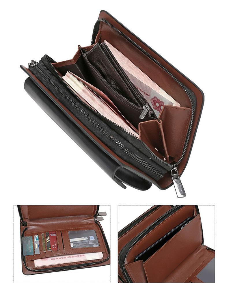Jeep Men's Double Zipper Leather Clutch Bag - Black
