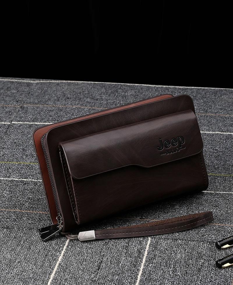 Jeep Men's Double Zipper Leather Clutch Bag - Brown