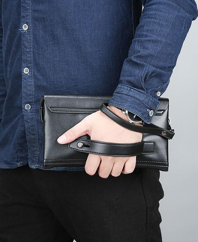 Men's Luxury Fashion Wallet Leather Clutch Bag Purse - Black