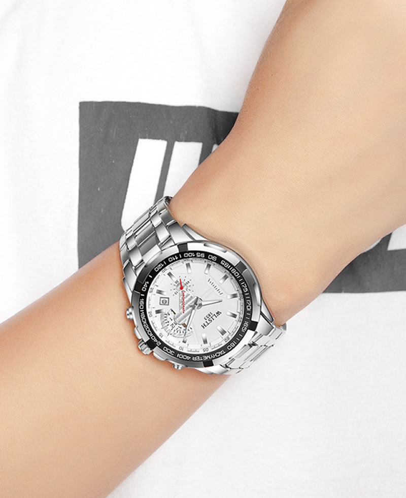 Wlisth 1853 Men's Waterproof Bracelet Silver Chain Watch - White Face