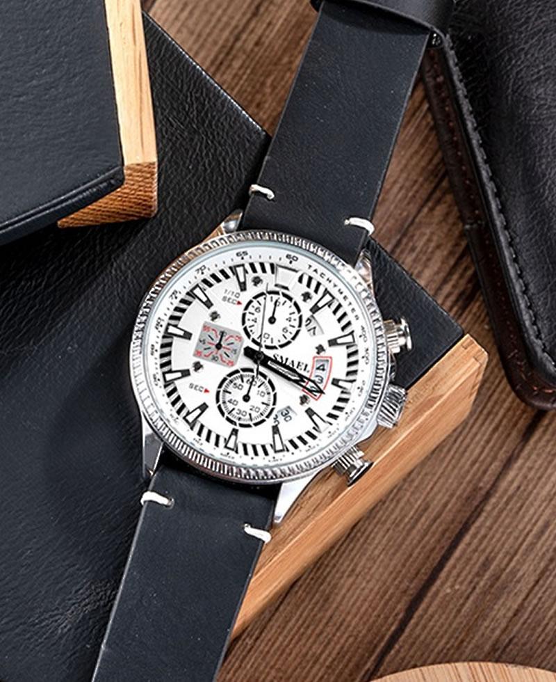 Smael Men's Chronograph Hollow Casual Leather Watch - Black Leather PLUS FREE BRACELET