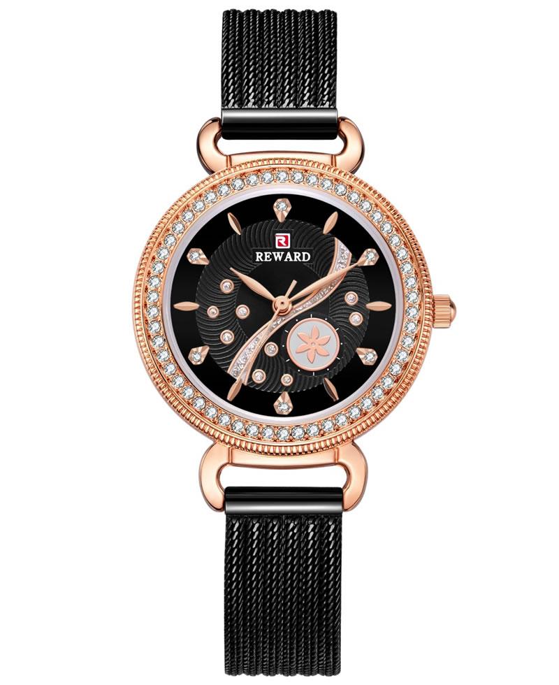 Reward Studded Milan Mesh Women Watch - Black