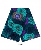 Rossberry Platinum Blue, Green and Purple Flowers Ankara Fabric - 6 Yards