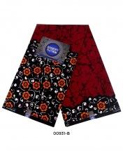 Rossberry Platinum Dark Red with Orange Flora Ankara Fabric - 6 Yards