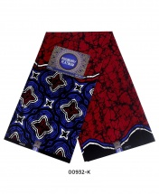 Rossberry Platinum Dark Red with Blue Pattern Ankara Fabric - 6 Yards