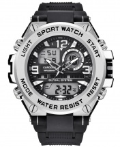 Curdden Multifunction Dual Display Digital Waterproof Rubber Strap Sport Watch - Silver