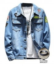 Men's Cowboy Washed Denim Leisure Jacket - Blue
