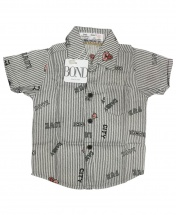 Bond Baby Boys' Short Sleeved Gray Stripped Shirt Age 3 - 12 Months