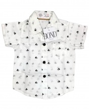Bond Baby Boys' Short Sleeved Mickey Mouse White and Black Shirt Age 3 - 12 Months