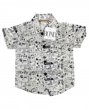 Bond Baby Boys' Short Sleeved White and Black Shirt Age 3 - 12 Months