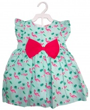Baby Girl Green Sleeveless Lace Dress with Red Bow Tie Age 3 - 12 Months