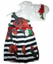 Girls Stripped Sleeveless Dress Rose Design With White Jacket And Red Belt Age 1 - 3 Years