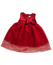 Baby Girl Red Sleeveless Lace Dress with Bow Tie Age 3 - 12 Months