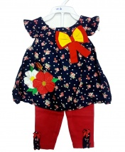 Baby Girl Casual Short Bow Tie Floral Dress with Pants 2PCS Clothing Set Age 3 - 12 Months