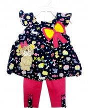 Baby Girl Casual Short Bow Tie Fun Dress with Pants 2PCS Clothing Set Age 3 - 12 Months