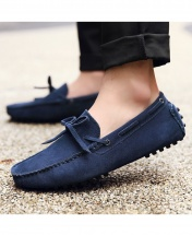 High Quality Suede Leather Men Flats Casual Loafers Moccasin Driving Shoes - Navy