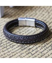 Men's Fashion Thick Leather Retro Bracelet - Dark Brown