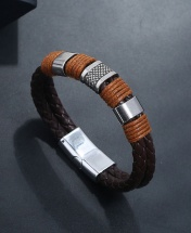 Men's Fashion Double Rope Leather Bracelet - Dark Brown
