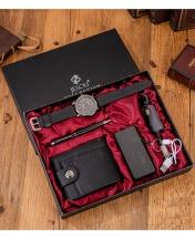 5PCS Exquisite Gift Set - Wallet + Power Bank + Quartz Wristwatch + Pen + Key-holder - Black