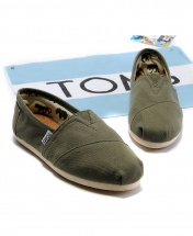 TOMS Mens Classic Canvas Casual Slip-On Shoes - Olive - Army Green