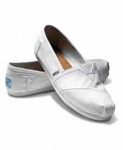 TOMS Classic Canvas Casual Slip-On Shoes - White