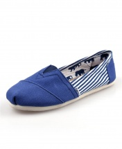 TOMS Classic Canvas Casual Slip-On Shoes - Stripped Blue