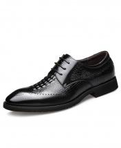 Men's Classy New Crocodile Skin Design Black Leather Brogue Dress Shoes