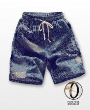 Men's Casual Multicoloured Linen Summer Beach Shorts - Blue Grids