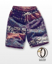 Men's Casual Multicoloured Linen Summer Beach Shorts - Brown Tribal