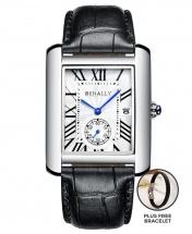 Benally Men's Leather Wrist Watch Silver Case Black Leather PLUS FREE BRACELET