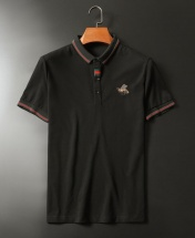 Men's Premium Little Bee Pure Cotton Short Sleeved Sport Polo Shirt - Black