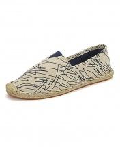 Espadrille Casual Canvas Flat Heel Shoe - Blue Stripes
