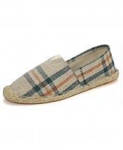 Espadrille Casual Canvas Flat Heel Shoe - Green Stripes