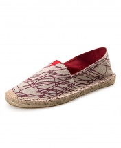 Espadrille Casual Canvas Flat Heel Shoe - Red Stripes