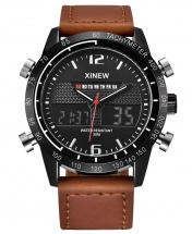 Xinew Digital and Analog Dual Time Tachymeter Leather Watch - Khaki