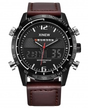 Xinew Digital and Analog Dual Time Tachymeter Leather Watch - Coffee