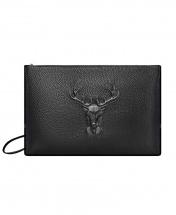 Men's Deer Head Large Capacity Casual Leather Clutch Handbag - Black