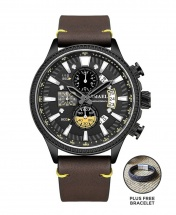 Smael Men's Chronograph Hollow Casual Leather Watch - Brown Leather PLUS FREE BRACELET