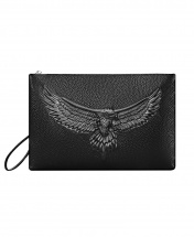 Men's Eagle Large Capacity Casual Leather Clutch Handbag - Black
