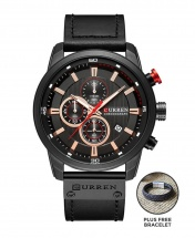 Curren 8291 Men's Chronograph Casual Fashion Leather Watch - Black Face + FREE BRACELET