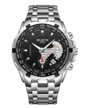 Wlisth 1853 Men's Waterproof Bracelet Silver Chain Watch - Black Face