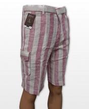 Conak Pink Striped Linen Blend Summer Cargo Shorts