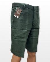 Conak Dark Green Linen Blend Summer Shorts