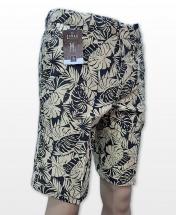Conak Yellow Floral Linen Blend Summer Shorts
