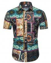 Men's Motif Cotton Short Sleeved Casual Shirt CS1